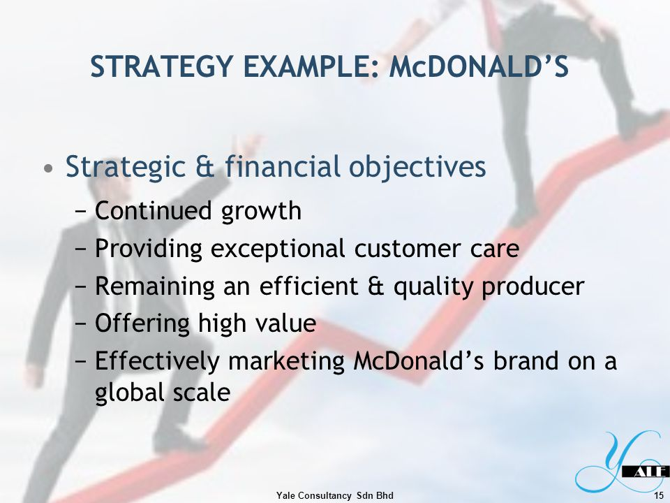 STRATEGY EXAMPLE: McDONALDS Strategic & financial objectives Continued growth Providing exceptional customer care Remaining an efficient & quality pro