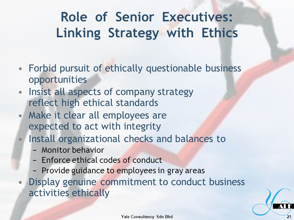Role of Senior Executives: Linking Strategy with Ethics Forbid pursuit of ethically questionable business opportunities Insist all aspects of company