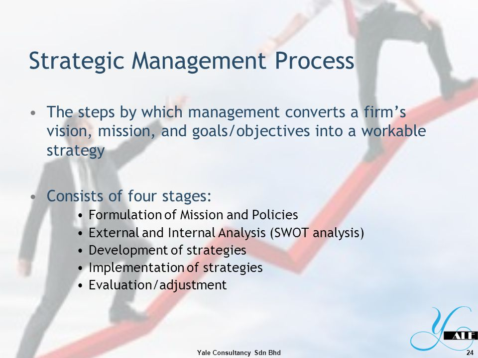 Strategic Management Process The steps by which management converts a firms vision, mission, and goals/objectives into a workable strategy Consists of