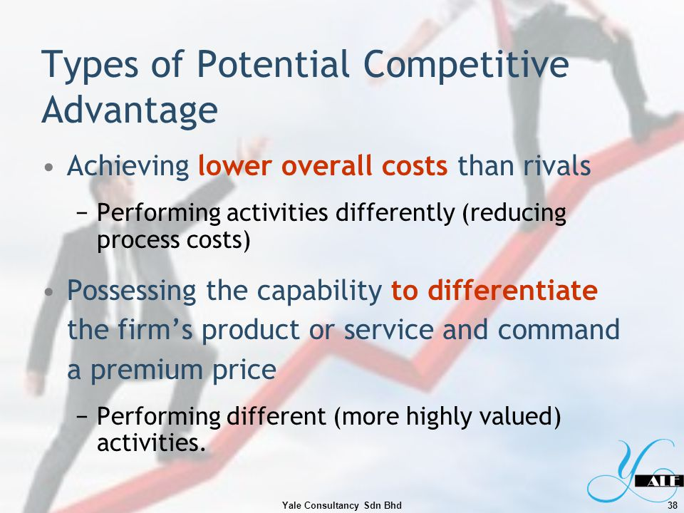 Types of Potential Competitive Advantage Achieving lower overall costs than rivals Performing activities differently (reducing process costs) Possessi