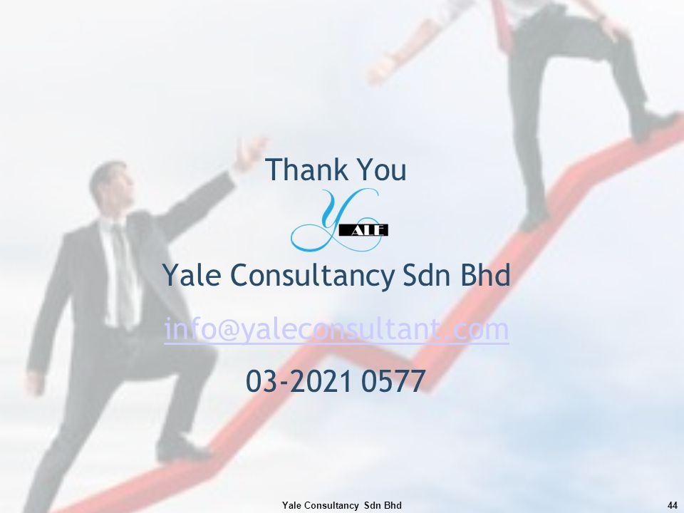Thank You Yale Consultancy Sdn Bhd info@yaleconsultant.com 03-2021 0577 Yale Consultancy Sdn Bhd44