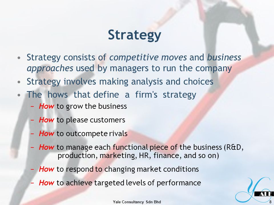 Choosing a Strategy Strategic choices about how are based on Trial-and-error organizational learning about w hat has worked and what has not worked Managements appetite for taking risks Managerial analysis and strategic thinking about how best to proceed, given market conditions and the companys circumstances In choosing a strategy, management is in effect saying, Among all the many different business approaches and ways of competing we could have chosen, we have decided to employ this particular combination of competitive and operating approaches in moving the company in the intended direction, strengthening its market position, and competitiveness, and boosting performance.