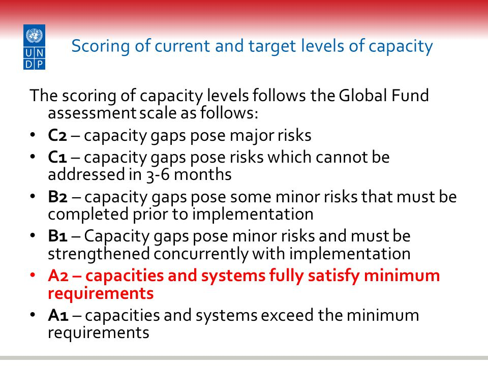 Scoring of current and target levels of capacity The scoring of capacity levels follows the Global Fund assessment scale as follows: C2 – capacity gaps pose major risks C1 – capacity gaps pose risks which cannot be addressed in 3-6 months B2 – capacity gaps pose some minor risks that must be completed prior to implementation B1 – Capacity gaps pose minor risks and must be strengthened concurrently with implementation A2 – capacities and systems fully satisfy minimum requirements A1 – capacities and systems exceed the minimum requirements