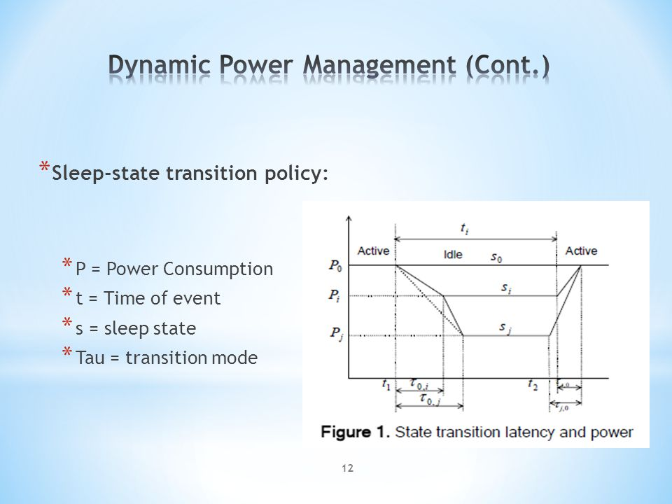 * Sleep-state transition policy: * P = Power Consumption * t = Time of event * s = sleep state * Tau = transition mode 12
