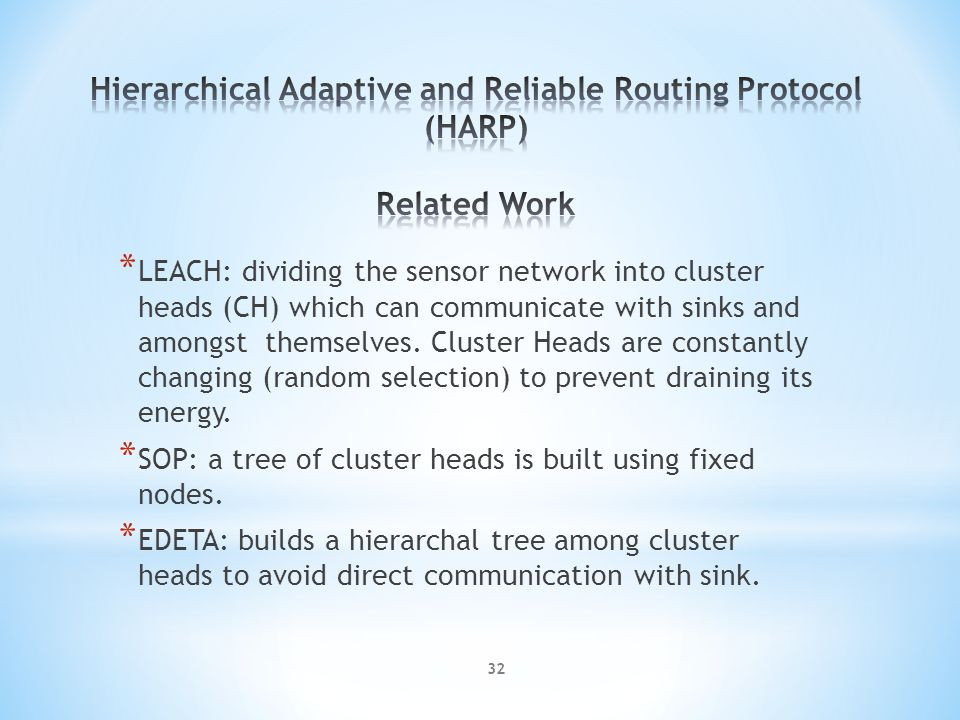 * LEACH: dividing the sensor network into cluster heads (CH) which can communicate with sinks and amongst themselves.