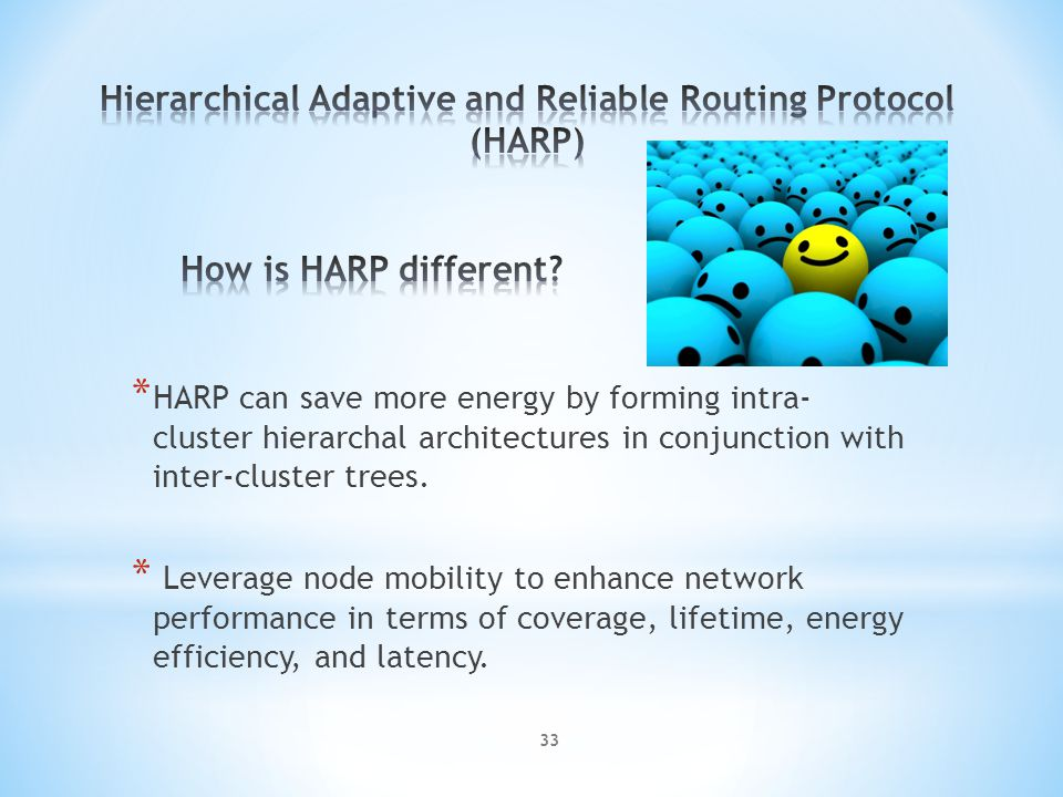 * HARP can save more energy by forming intra- cluster hierarchal architectures in conjunction with inter-cluster trees.