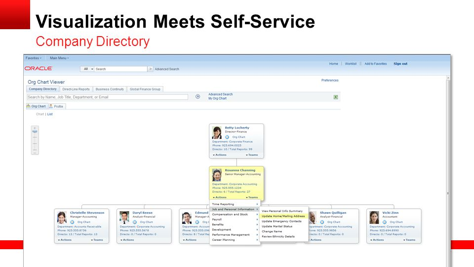 Copyright © 2013, Oracle and/or its affiliates. All rights reserved. 16 Visualization Meets Self-Service Company Directory