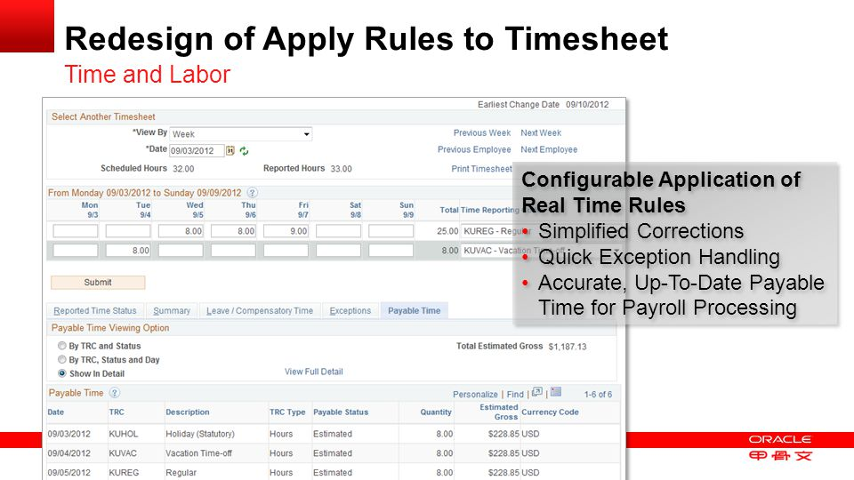 Copyright © 2013, Oracle and/or its affiliates. All rights reserved. 23 Redesign of Apply Rules to Timesheet Time and Labor Configurable Application o