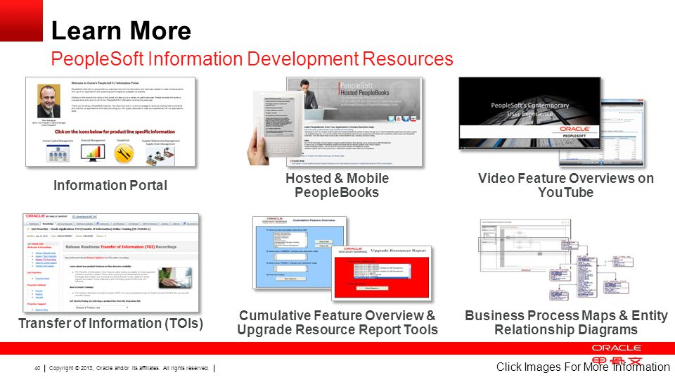 Copyright © 2013, Oracle and/or its affiliates. All rights reserved. 40 Learn More PeopleSoft Information Development Resources Click Images For More