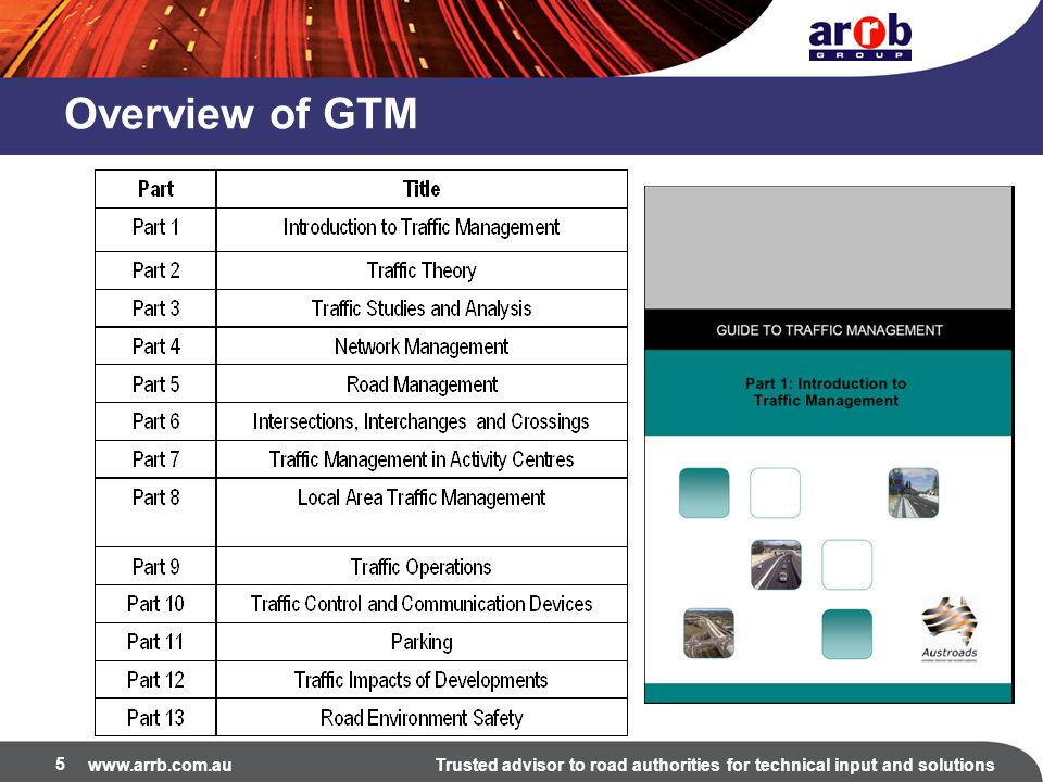 www.arrb.com.auTrusted advisor to road authorities for technical input and solutions Part 6 – Intersections, Interchanges and Crossings Part 6 is concerned with traffic management at all types of intersections where the various road users must join or cross another stream of traffic.
