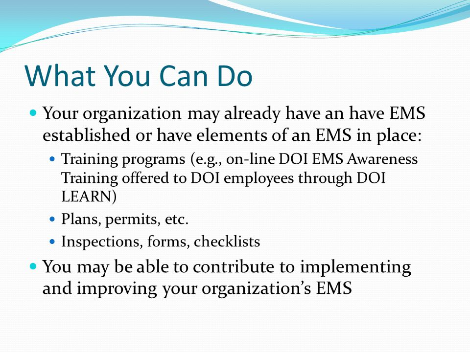 What You Can Do Your organization may already have an have EMS established or have elements of an EMS in place: Training programs (e.g., on-line DOI E