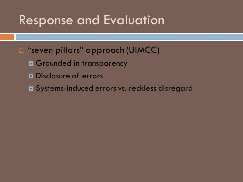 Response and Evaluation seven pillars approach (UIMCC) Grounded in transparency Disclosure of errors Systems-induced errors vs.