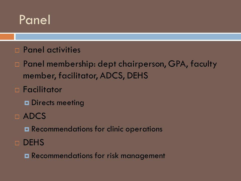 Panel Panel activities Panel membership: dept chairperson, GPA, faculty member, facilitator, ADCS, DEHS Facilitator Directs meeting ADCS Recommendations for clinic operations DEHS Recommendations for risk management