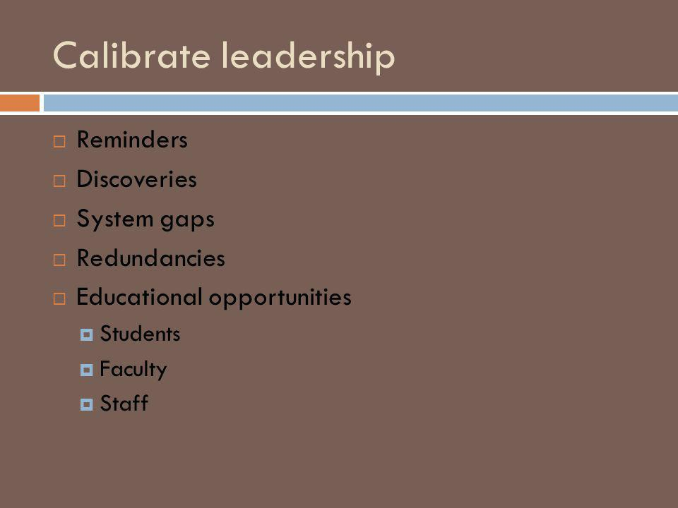 Calibrate leadership Reminders Discoveries System gaps Redundancies Educational opportunities Students Faculty Staff