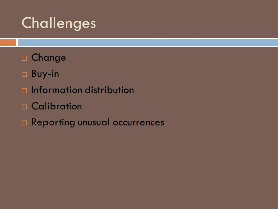 Challenges Change Buy-in Information distribution Calibration Reporting unusual occurrences