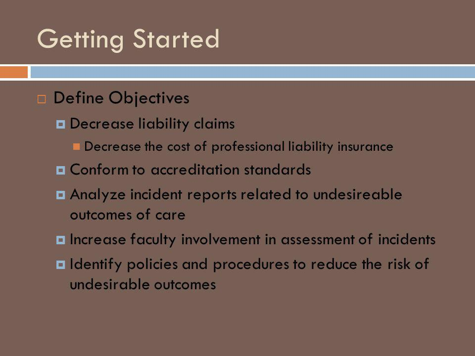 Getting Started Define Objectives Decrease liability claims Decrease the cost of professional liability insurance Conform to accreditation standards Analyze incident reports related to undesireable outcomes of care Increase faculty involvement in assessment of incidents Identify policies and procedures to reduce the risk of undesirable outcomes