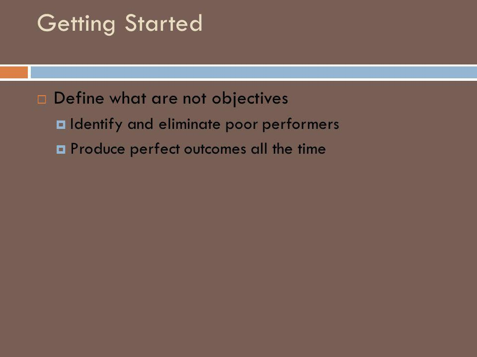 Getting Started Define what are not objectives Identify and eliminate poor performers Produce perfect outcomes all the time