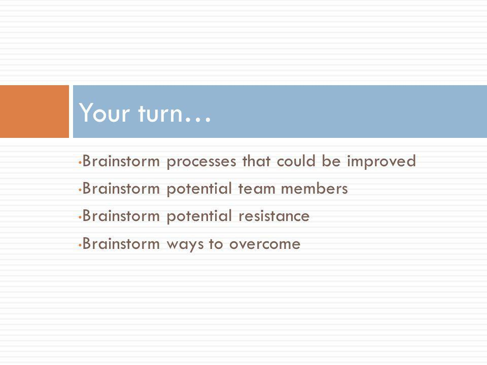 Brainstorm processes that could be improved Brainstorm potential team members Brainstorm potential resistance Brainstorm ways to overcome Your turn…