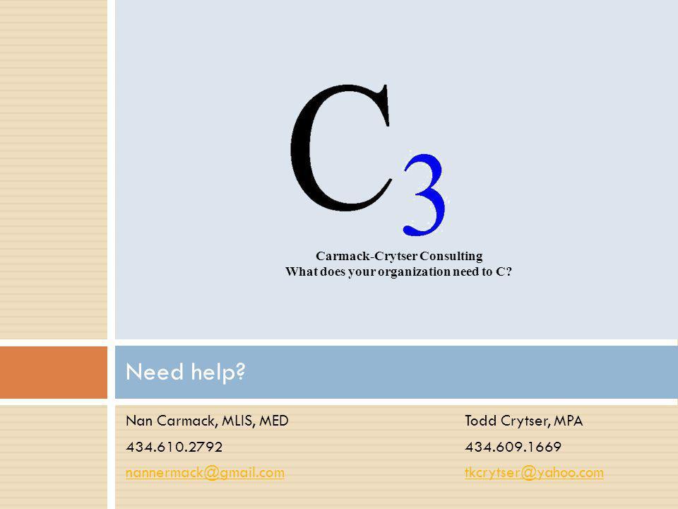 Nan Carmack, MLIS, MEDTodd Crytser, MPA 434.610.2792434.609.1669 nannermack@gmail.comtkcrytser@yahoo.com Need help.