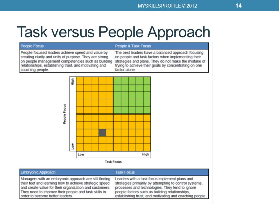Task versus People Approach MYSKILLSPROFILE © 2012 14