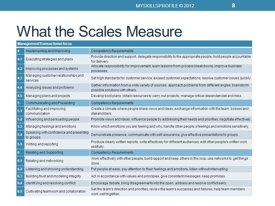What the Scales Measure Scale 1.1.