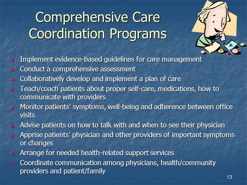 13 Comprehensive Care Coordination Programs Implement evidence-based guidelines for care management Implement evidence-based guidelines for care management Conduct a comprehensive assessment Conduct a comprehensive assessment Collaboratively develop and implement a plan of care Collaboratively develop and implement a plan of care Teach/coach patients about proper self-care, medications, how to communicate with providers Teach/coach patients about proper self-care, medications, how to communicate with providers Monitor patients symptoms, well-being and adherence between office visits Monitor patients symptoms, well-being and adherence between office visits Advise patients on how to talk with and when to see their physician Advise patients on how to talk with and when to see their physician Apprise patients physician and other providers of important symptoms or changes Apprise patients physician and other providers of important symptoms or changes Arrange for needed health-related support services Arrange for needed health-related support services Coordinate communication among physicians, health/community providers and patient/family Coordinate communication among physicians, health/community providers and patient/family