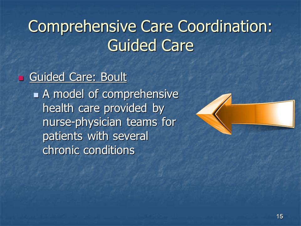 15 Comprehensive Care Coordination: Guided Care Guided Care: Boult Guided Care: Boult A model of comprehensive health care provided by nurse-physician teams for patients with several chronic conditions A model of comprehensive health care provided by nurse-physician teams for patients with several chronic conditions