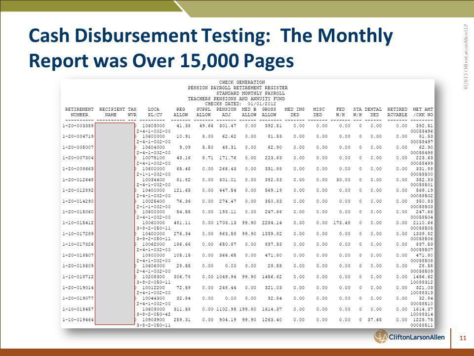 ©2013 CliftonLarsonAllen LLP Cash Disbursement Testing: The Monthly Report was Over 15,000 Pages 11