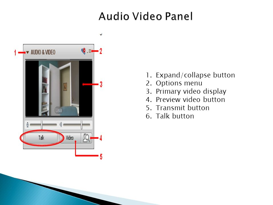 1.Expand/collapse button 2.Options menu 3.Primary video display 4.Preview video button 5.Transmit button 6.Talk button