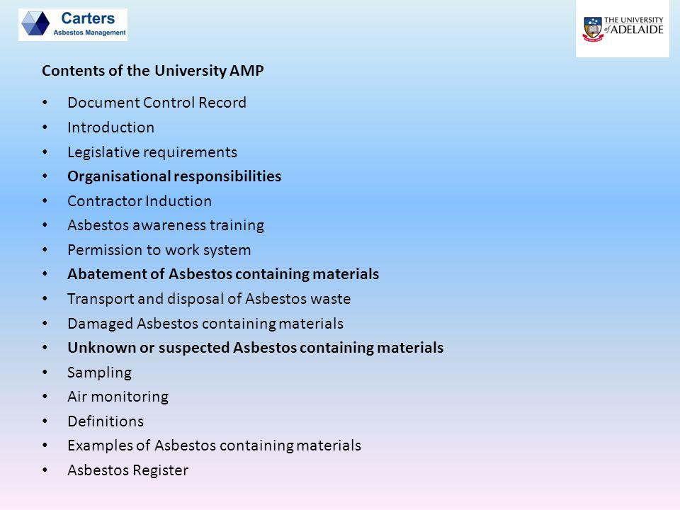 Document Control Record Introduction Legislative requirements Organisational responsibilities Contractor Induction Asbestos awareness training Permiss