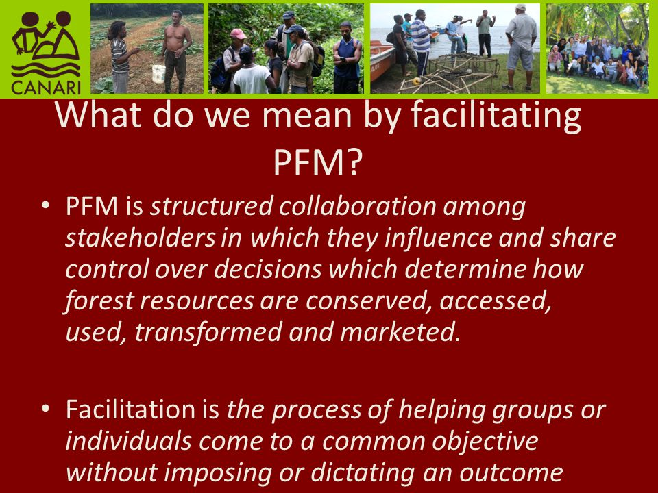 Process of facilitating PFM 1.Stakeholder identification and analysis 2.Mobilising stakeholders 3.Facilitate discussions 4.Develop consensus on decisions 5.Validate consensus 6.Evaluate results and lessons