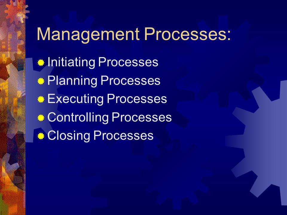 Management Processes: Initiating Processes Planning Processes Executing Processes Controlling Processes Closing Processes