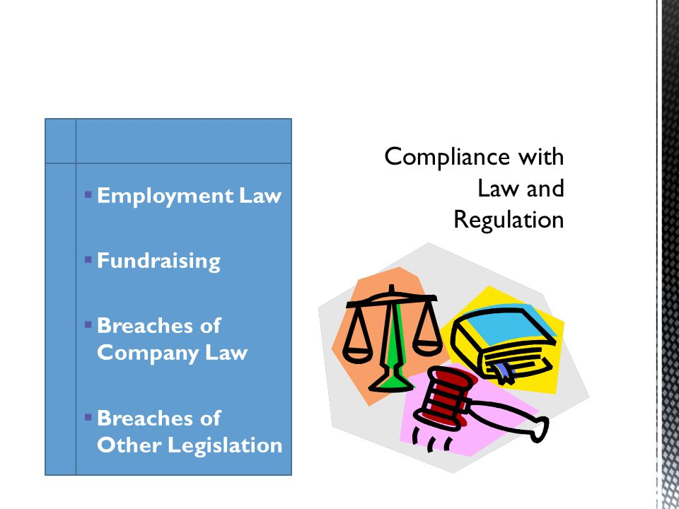 Employment Law Fundraising Breaches of Company Law Breaches of Other Legislation