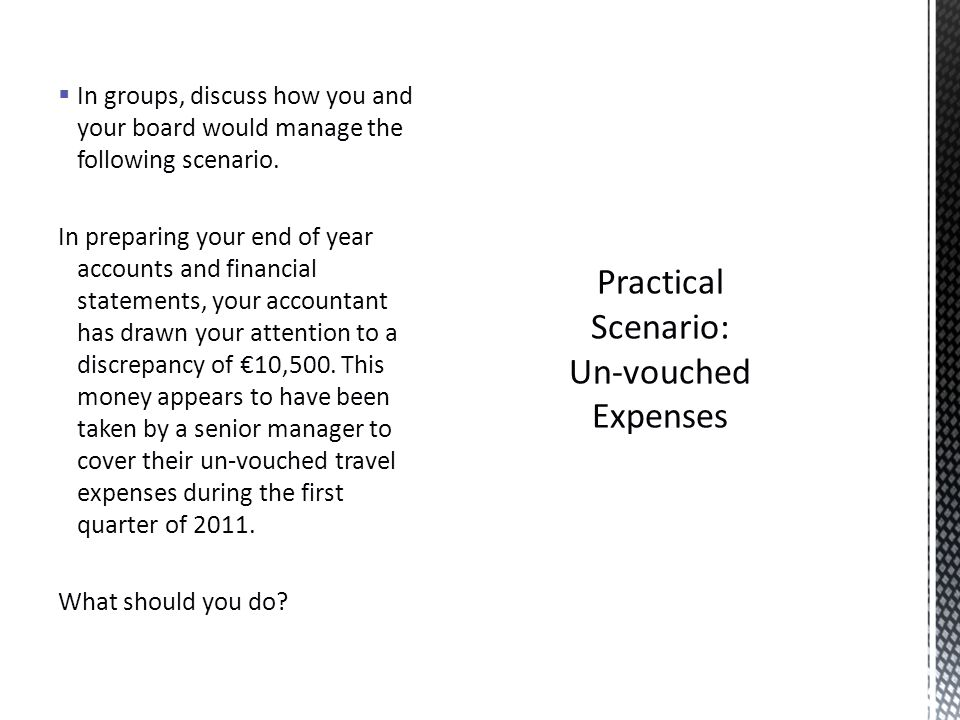 In groups, discuss how you and your board would manage the following scenario.