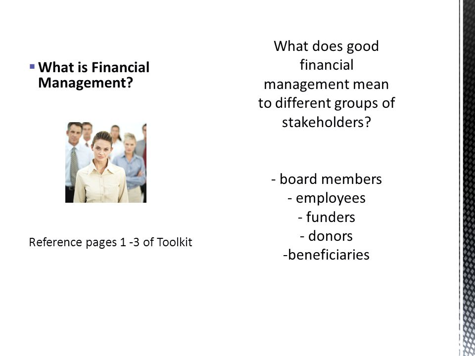 What is Financial Management Reference pages 1 -3 of Toolkit