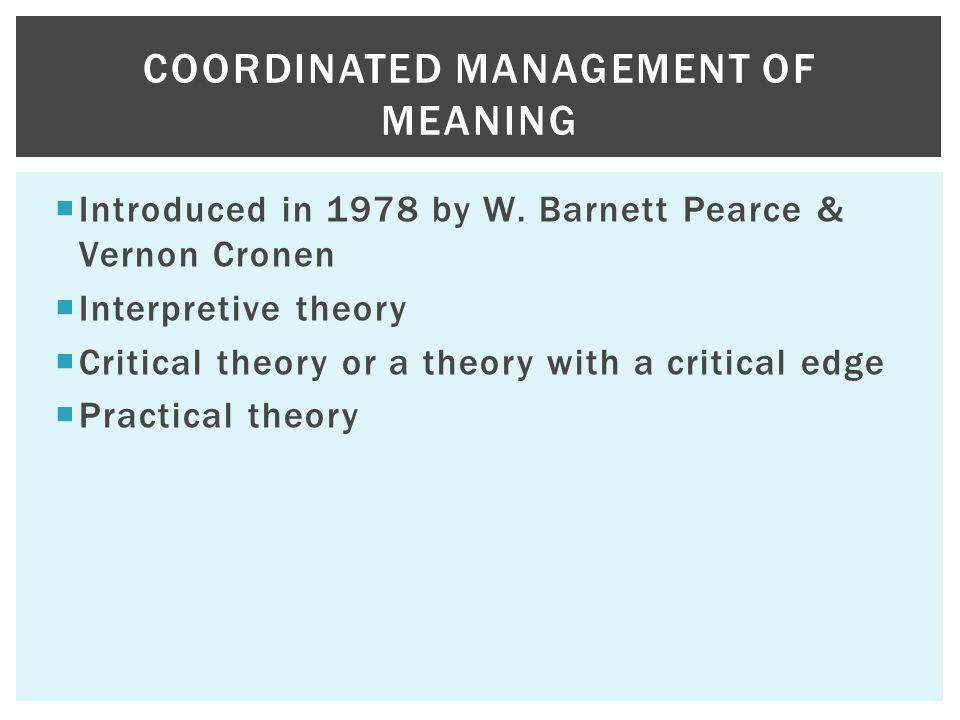Introduced in 1978 by W. Barnett Pearce & Vernon Cronen Interpretive theory Critical theory or a theory with a critical edge Practical theory COORDINA