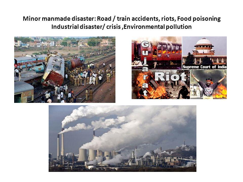 Minor manmade disaster: Road / train accidents, riots, Food poisoning Industrial disaster/ crisis,Environmental pollution