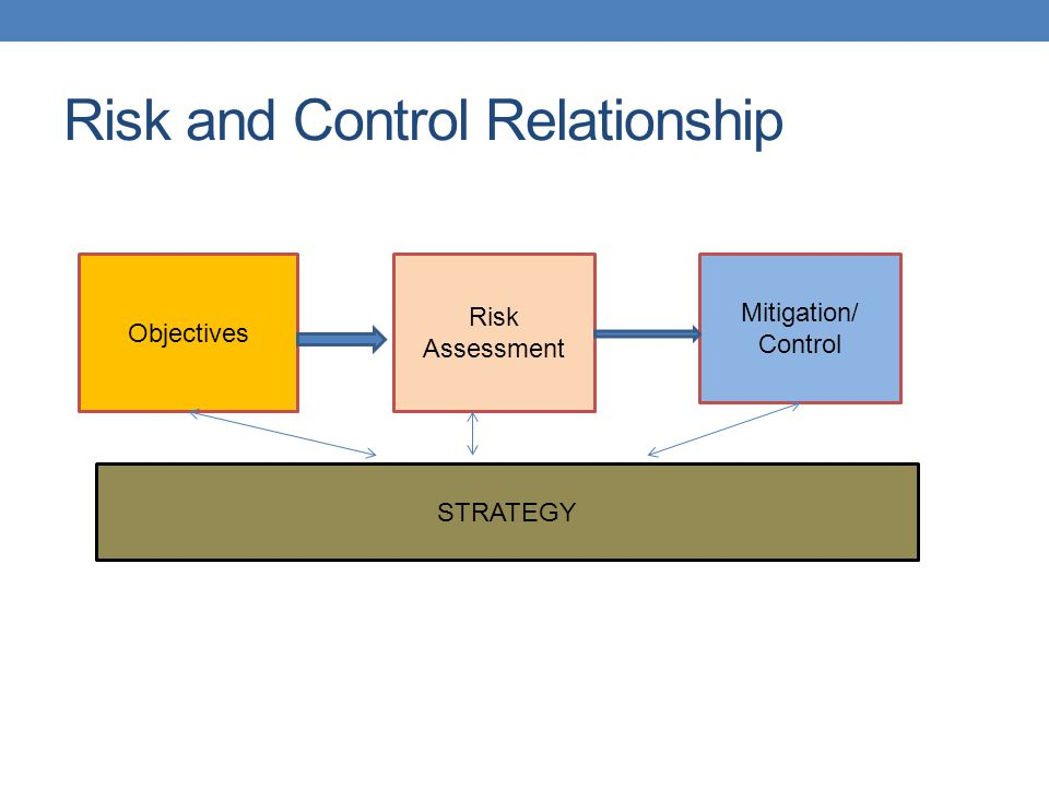 Risk and Control Relationship Objectives Risk Assessment Mitigation/ Control STRATEGY