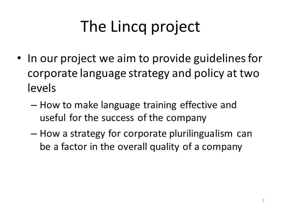 The Lincq project In our project we aim to provide guidelines for corporate language strategy and policy at two levels – How to make language training
