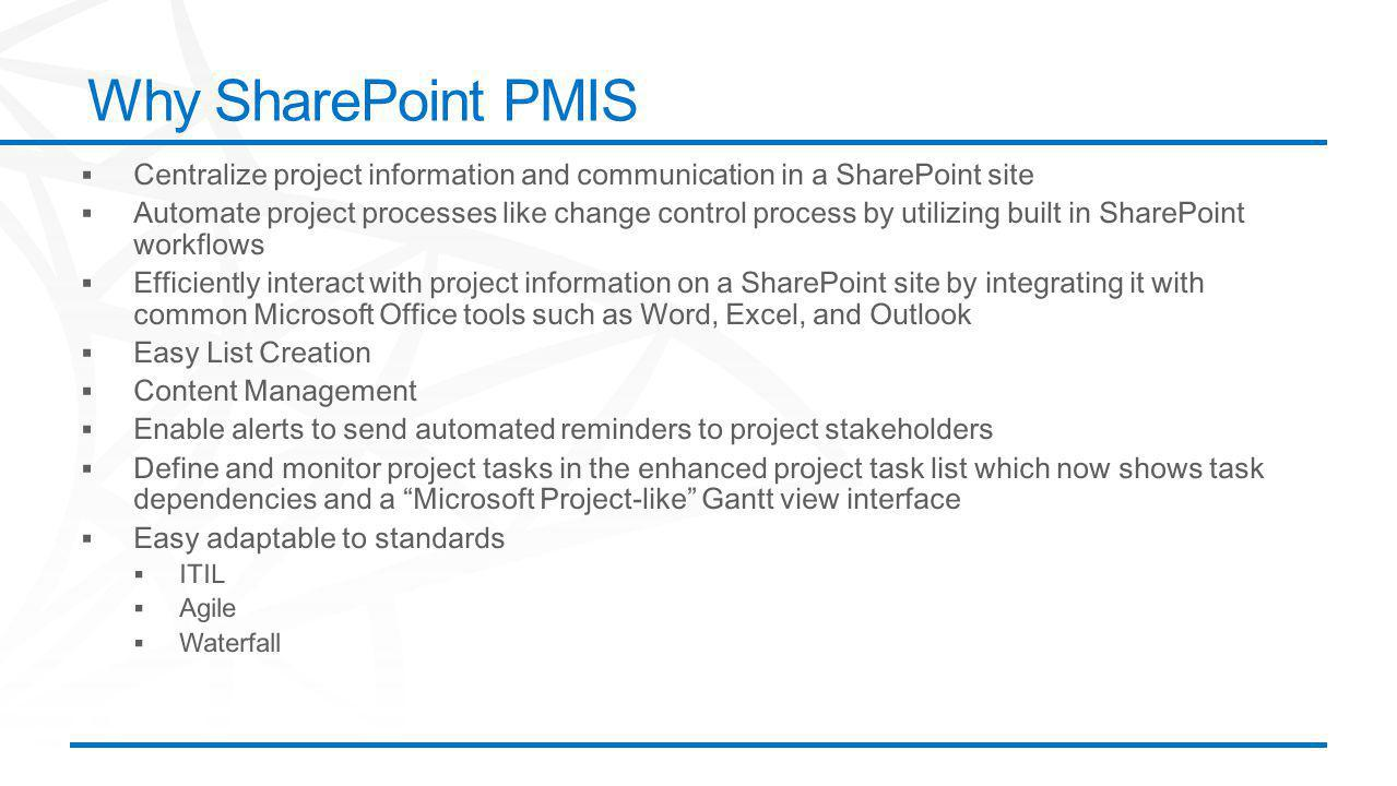 ©2012 Microsoft Corporation. All rights reserved. Content based on SharePoint 2013 Technical Preview and published July 2012. Why SharePoint PMIS