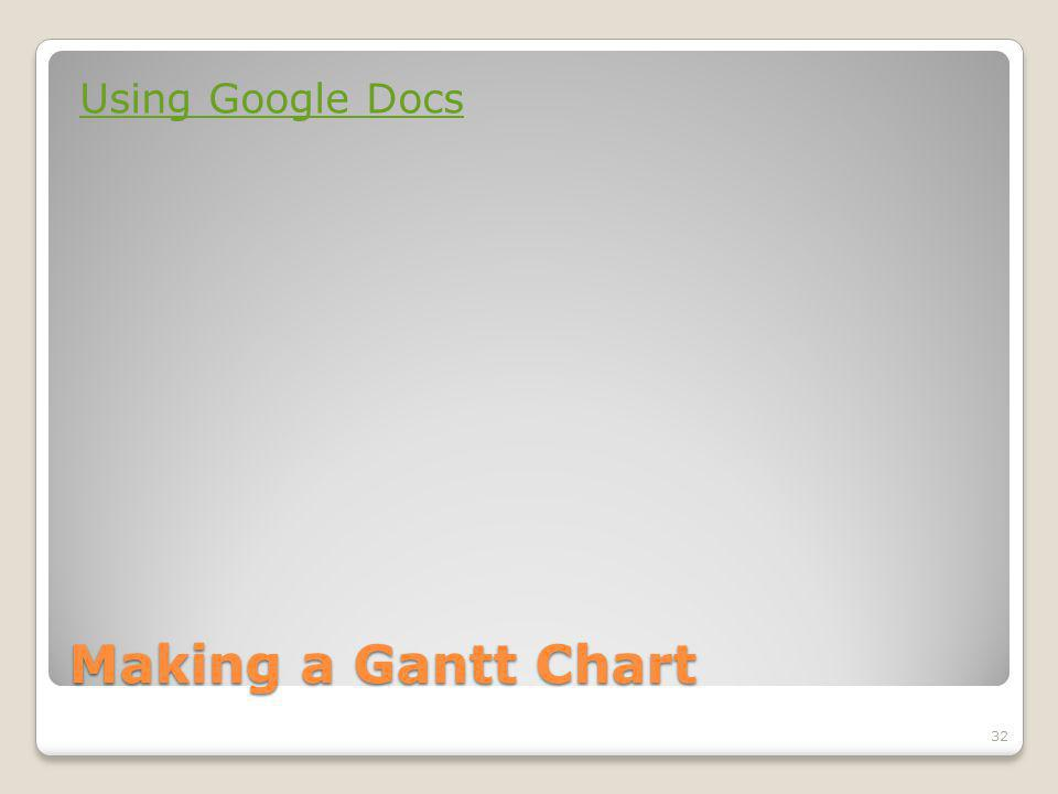 Making a Gantt Chart Using Google Docs 32