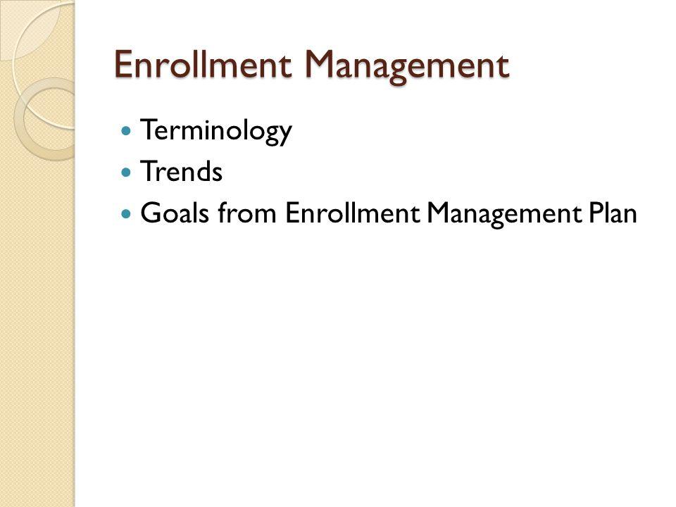 Enrollment Management Terminology Trends Goals from Enrollment Management Plan