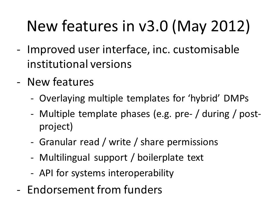 New features in v3.0 (May 2012) -Improved user interface, inc.