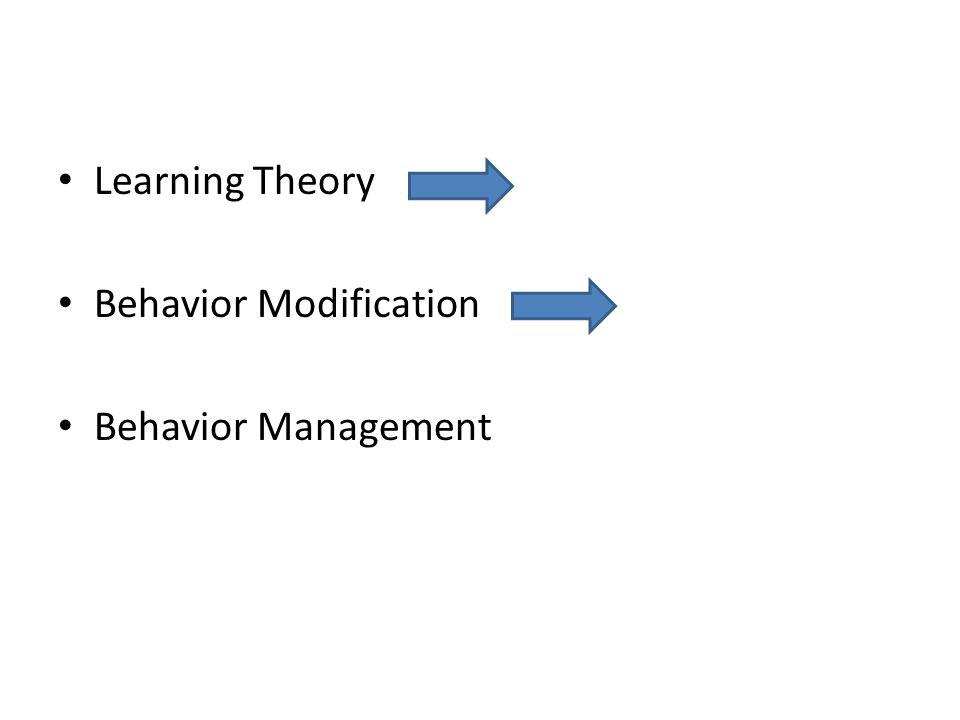 Learning Theory Behavior Modification Behavior Management