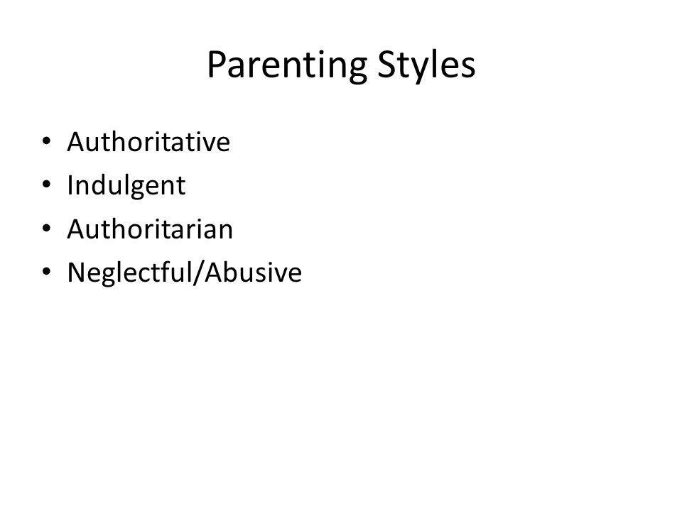 Parenting Styles Authoritative Indulgent Authoritarian Neglectful/Abusive