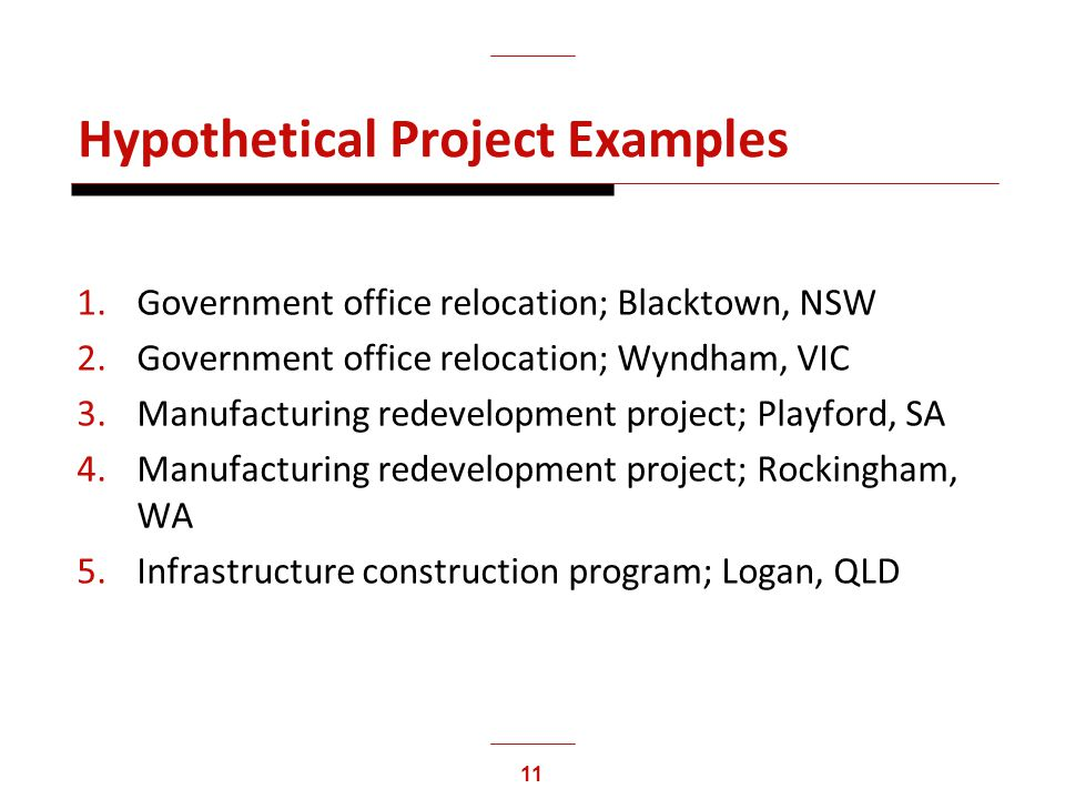 11 Hypothetical Project Examples 1.Government office relocation; Blacktown, NSW 2.Government office relocation; Wyndham, VIC 3.Manufacturing redevelop