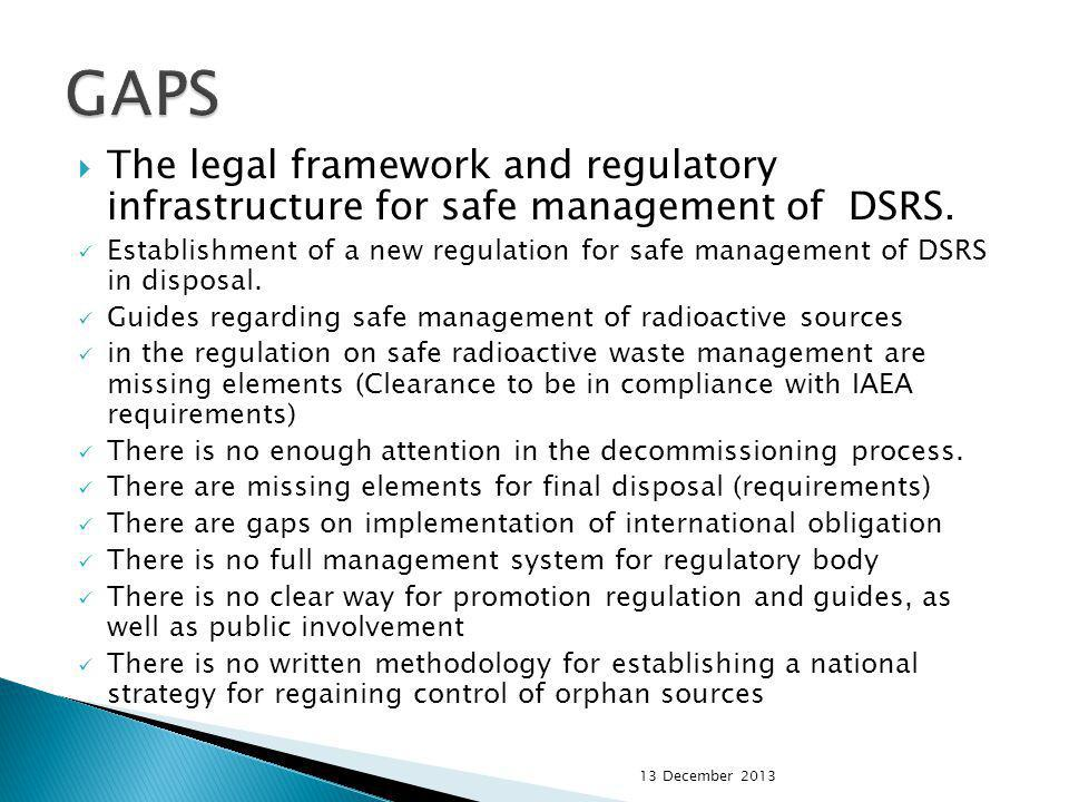 The legal framework and regulatory infrastructure for safe management of DSRS. Establishment of a new regulation for safe management of DSRS in dispos