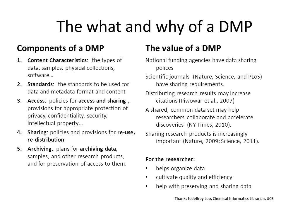 The what and why of a DMP Components of a DMP 1.Content Characteristics: the types of data, samples, physical collections, software… 2.Standards: the standards to be used for data and metadata format and content 3.Access: policies for access and sharing, provisions for appropriate protection of privacy, confidentiality, security, intellectual property… 4.Sharing: policies and provisions for re-use, re-distribution 5.Archiving: plans for archiving data, samples, and other research products, and for preservation of access to them.