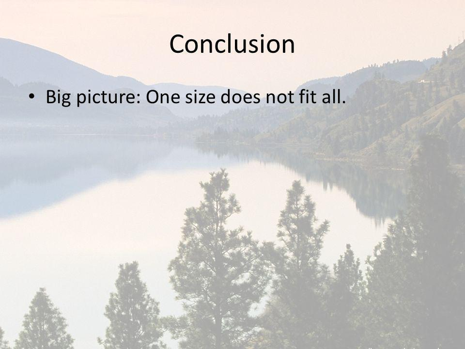 Conclusion Big picture: One size does not fit all.