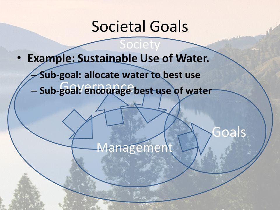 Society Goals Governance Management Societal Goals Example: Sustainable Use of Water. – Sub-goal: allocate water to best use – Sub-goal: encourage bes